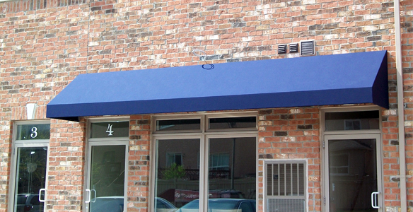 Image of a commercial awning - nice blue colour